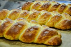 Three bread braids already cooked and prepared to sale royalty free stock photos