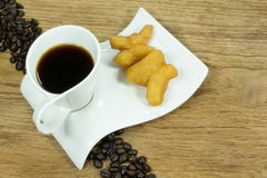 Doughstick and coffee Royalty Free Stock Photography