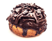 Doughut full of topping with chocolate. The doughut full of topping with chocolate isolated stock photos