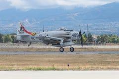 Douglas AD-4NA Skyraider på skärm Royaltyfri Foto