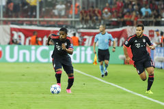 Douglas Costa (L) and Arturo Vidal (R) during the UEFA Champions Royalty Free Stock Photography