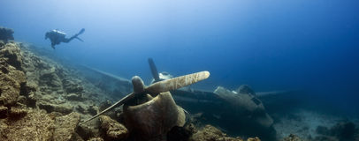 Underwater image of crashed plane Stock Photography