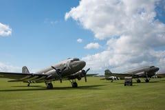 Douglas Dakota. Duxford, UK- 25th May 2014: Line up of Douglas Dakota aircraft at Duxford Airshow Stock Photography
