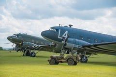 Douglas Dakotas. Duxford, UK - 25th May 2014:  WW2 US Douglas Dakotas at Duxford Airshow Stock Photo
