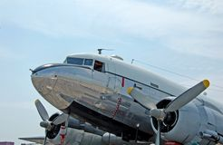 Douglas DC-3 historic aircraft. Douglas DC-3 (C-47) world war two airplane restored for airshow Stock Images