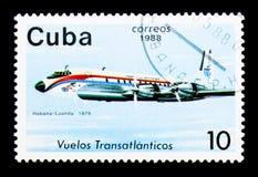 Douglas DC-7 (1975), Flugzeuge serie, circa 1988 Lizenzfreie Stockfotos