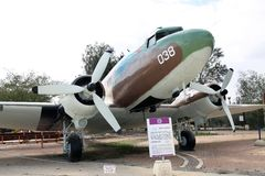 DOUGLAS DS-3 / C-47 - Dakota - transport aircraft. MUSEUM OF THE AIR FORCE IDF. HATZERIM - FEBRUARY 02, 2012: DOUGLAS DS-3 - Dakota - transport aircraft Stock Image