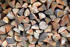 Douglas fir firewood. Split and stacked Douglas fir logs for firewood Stock Photos