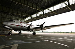 Douglas Skymaster in the boarding Area of Historic Berlin Tempelhof Airport; B&W Stock Photography