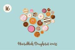 Dougnut Хануки, еврейский символ праздника сладостные традиционные пекут