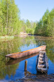 Dougout canoes in a river Stock Photo