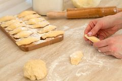 Douhg preparation for cooking dumplings. Royalty Free Stock Photos