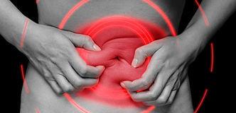 Douleur abdominale, secteur douloureux de couleur rouge Image stock