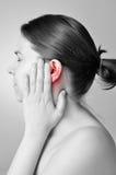 Douleur aux oreilles photographie stock