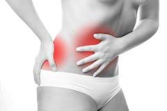 Douleur dans l'abdomen images libres de droits