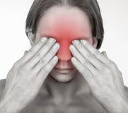 Douleur dans les yeux Photo stock