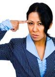 Douleur de femme d'affaires de Mixedrace Photographie stock libre de droits