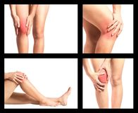 Douleur de genou de collection image stock
