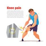 Douleur de genou de sportif, personnage de dessin animé, illustration de vecteur Photographie stock