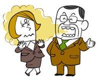 Douleur de la mauvaise haleine du patron masculin et du personnel féminin d'odeur illustration libre de droits