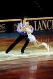 Douleur de Qing et pinces de Jian à la récompense d'or du patin 2011 Photo libre de droits