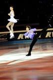 Douleur de Qing et pinces de Jian à la récompense d'or du patin 2011 Photos libres de droits