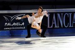 Douleur de Quing et pinces de Jian à la récompense d'or du patin 2011 Photo libre de droits