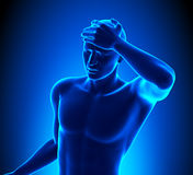 Un homme avec un mal de tête illustration libre de droits