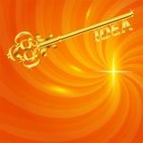 Dourado-chave-ideia-em--quente-energia-fundo Imagens de Stock Royalty Free