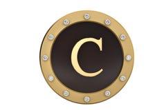 Dourado e diamante quadro com alfabeto C no fundo branco 3d Foto de Stock