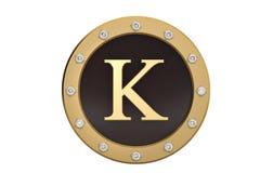 Dourado e diamante quadro com alfabeto K no fundo branco 3d Foto de Stock