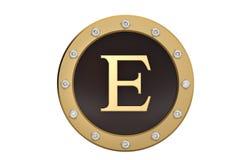 Dourado e diamante quadro com alfabeto E no fundo branco 3d Fotografia de Stock