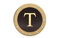 Dourado e diamante quadro com alfabeto T no fundo branco 3d Fotografia de Stock