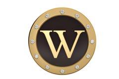 Dourado e diamante quadro com alfabeto W no fundo branco 3d Foto de Stock