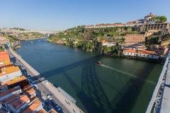 Douro Ribeira od Dom Luis Porto i rzeka, przerzucam most Obraz Stock