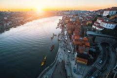 Douro Ribeira od Dom Luis Porto i rzeka, przerzucam most Fotografia Royalty Free