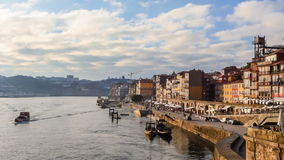 Douro River Cruise passes by Ribeira in Porto, Portugal stock footage