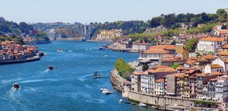 Douro river and Dom Luis britge. Porto. stock images