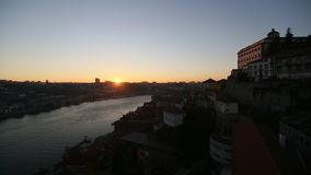 Douro river and Dom Luis I bridge at dusk, Porto. stock video footage