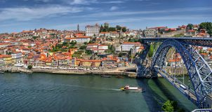 Douro River and Dom Luis I Bridge in Porto royalty free stock photography