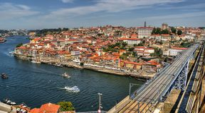 Douro River and Dom Luis I Bridge in Porto Royalty Free Stock Images