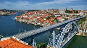 Douro River and Dom Luis I Bridge in Porto stock photography