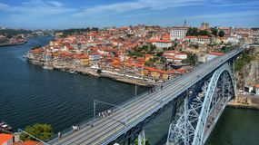 Douro River and Dom Luis I Bridge in Porto stock photos
