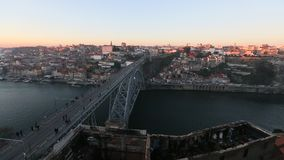 Douro river and Dom Luis I bridge, Porto, Portugal. stock footage