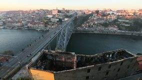 Douro river and Dom Luis I bridge, Porto stock video