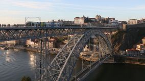 Douro river and Dom Luis I bridge, Porto. stock video