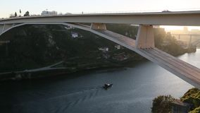Douro river and Dom Luis I bridge, Porto. stock video footage