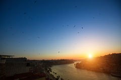 Douro river at evening time from Dom Luis I bridge, Porto Royalty Free Stock Photography