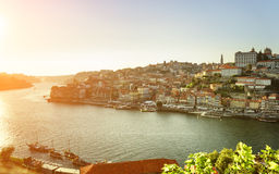 The Douro River and historic centre of Porto at sunset, Portugal Royalty Free Stock Photography