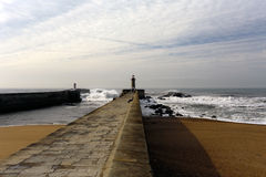 Douro river mouth north piers Stock Photos